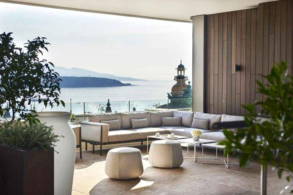 Magnificent terrace with sea view at the Hotel de Paris Monte-Carlo, Monaco
