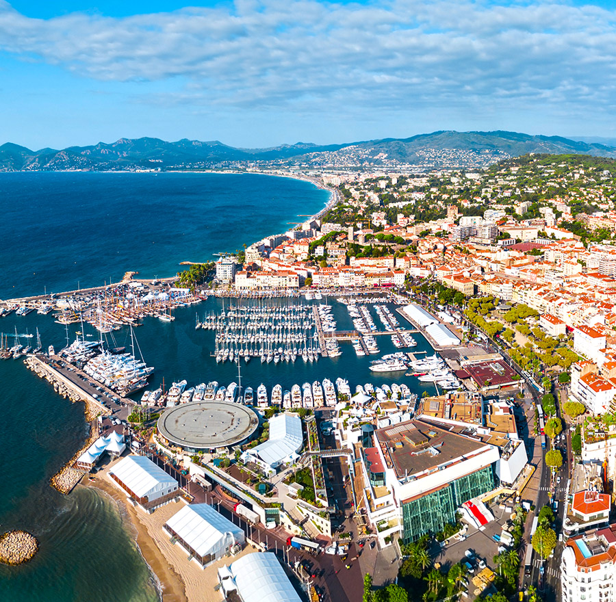 Cannes port aerial panoramic view