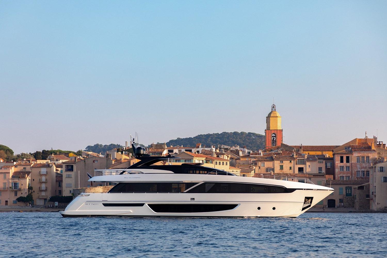 The Riva Corsaro anchored in the Gulf of Saint-Tropez