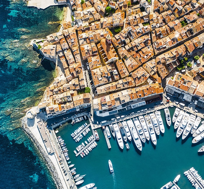 Aerial view of the old port of Saint-Tropez