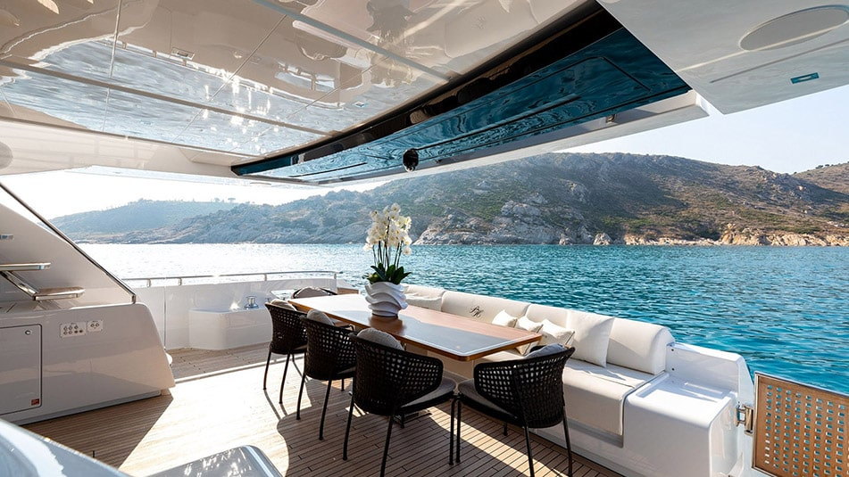 Rear deck of the yacht Raph Seven anchored to Monaco