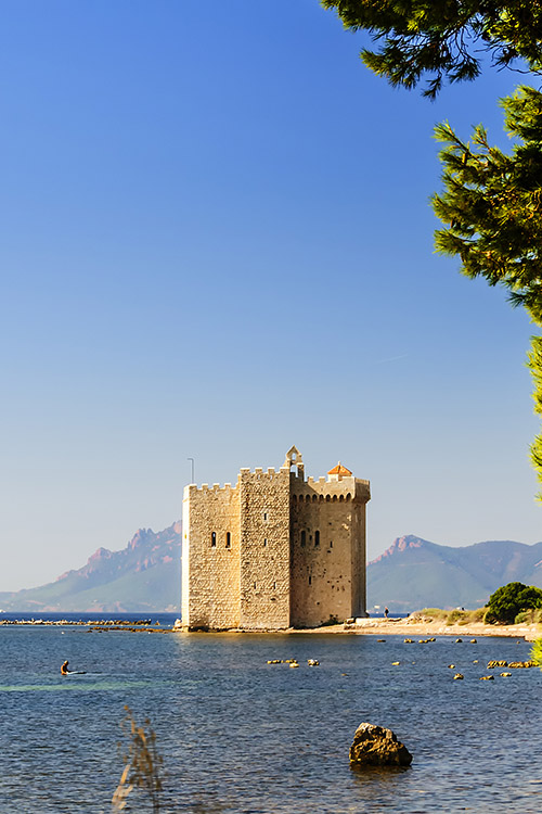 Fortified monastery by the sea on Saint-Honorat Island