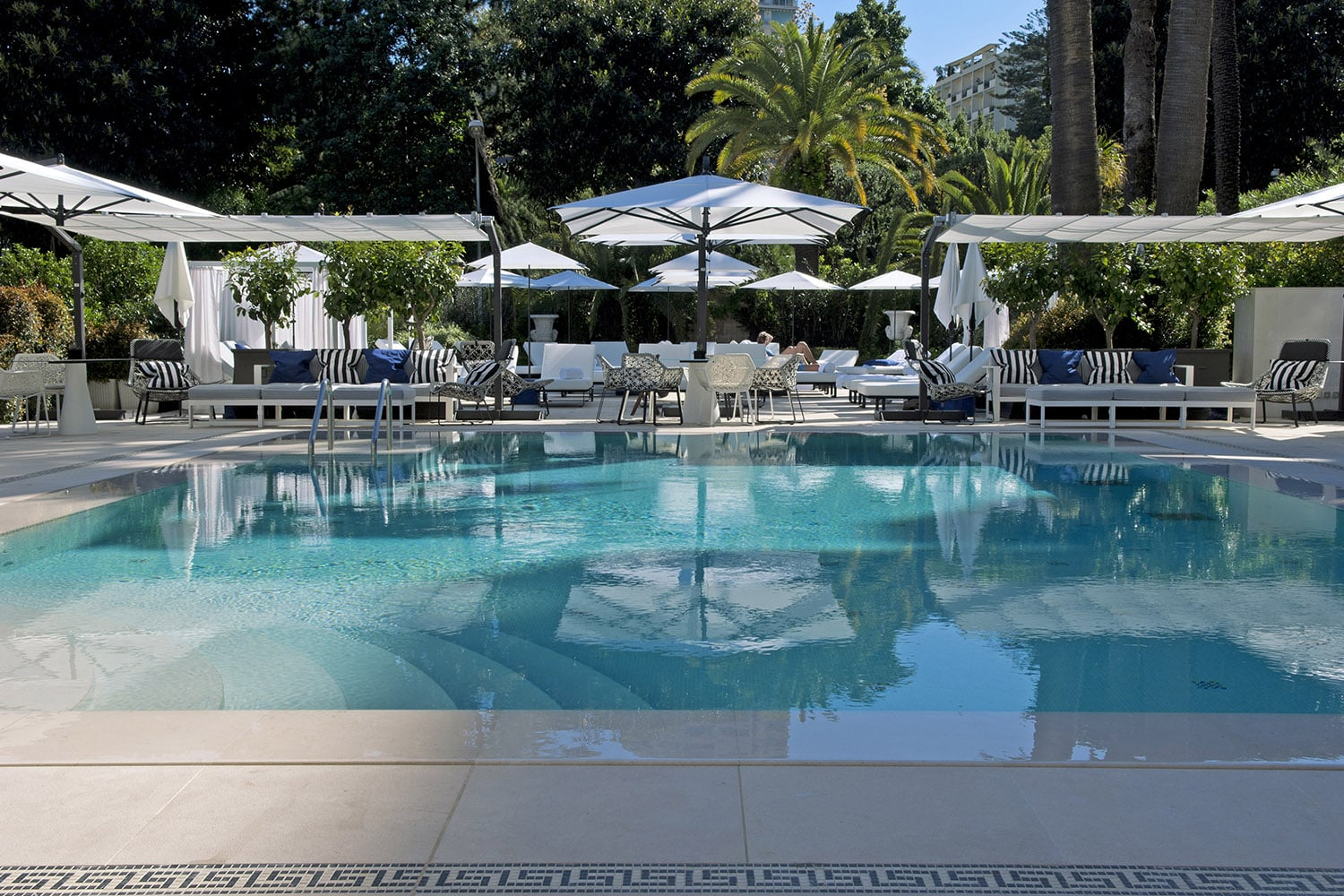 Swimming pool and Odyssey restaurant at the Hotel Métropole Monte-Carlo, Monaco