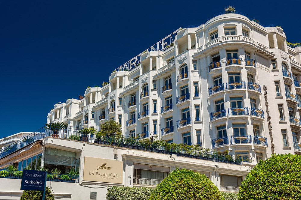 Façade of the luxury hotel Le Martinez in Cannes