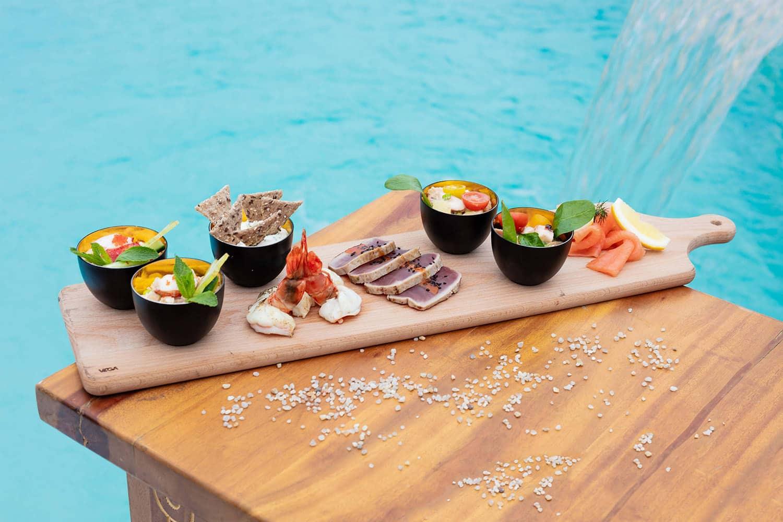 Tapas at the Nikki Beach rooftop pool Monte Carlo, Monaco