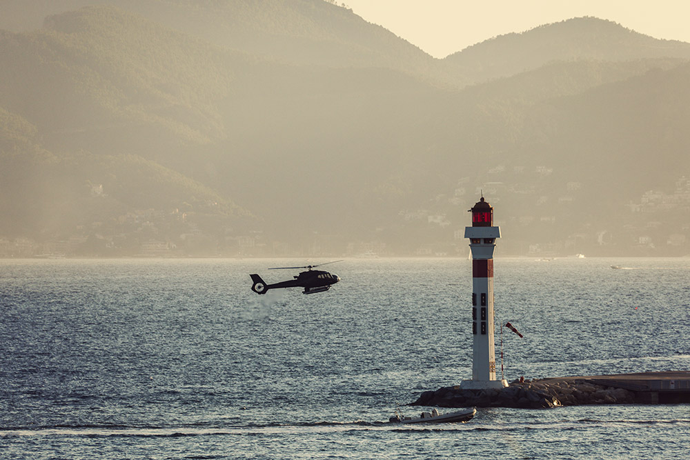 A helicopter lands in Cannes for the Film Festival