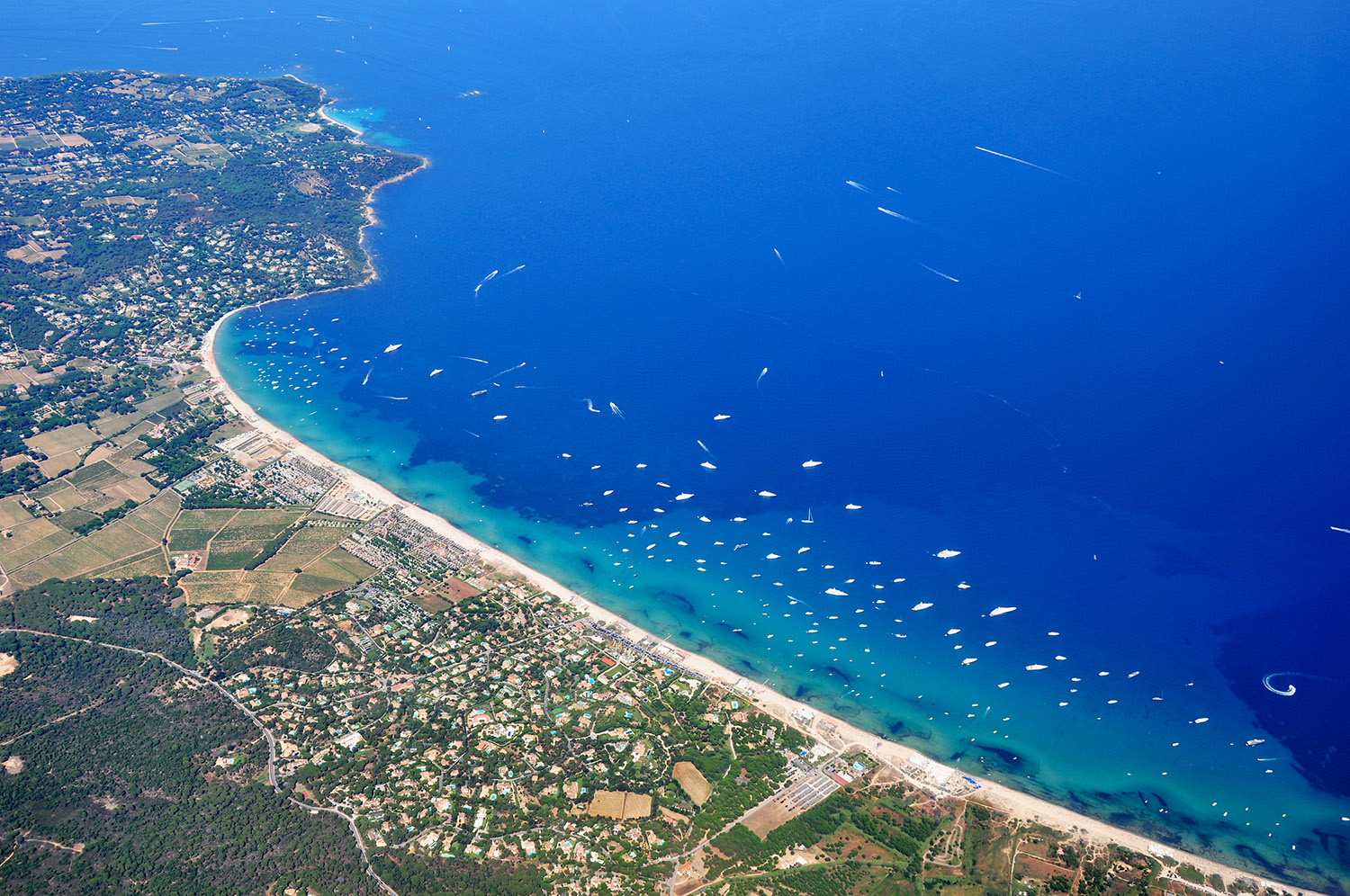 Aerial view of the Bay of Pampelonne (Gulf of Saint-Tropez)