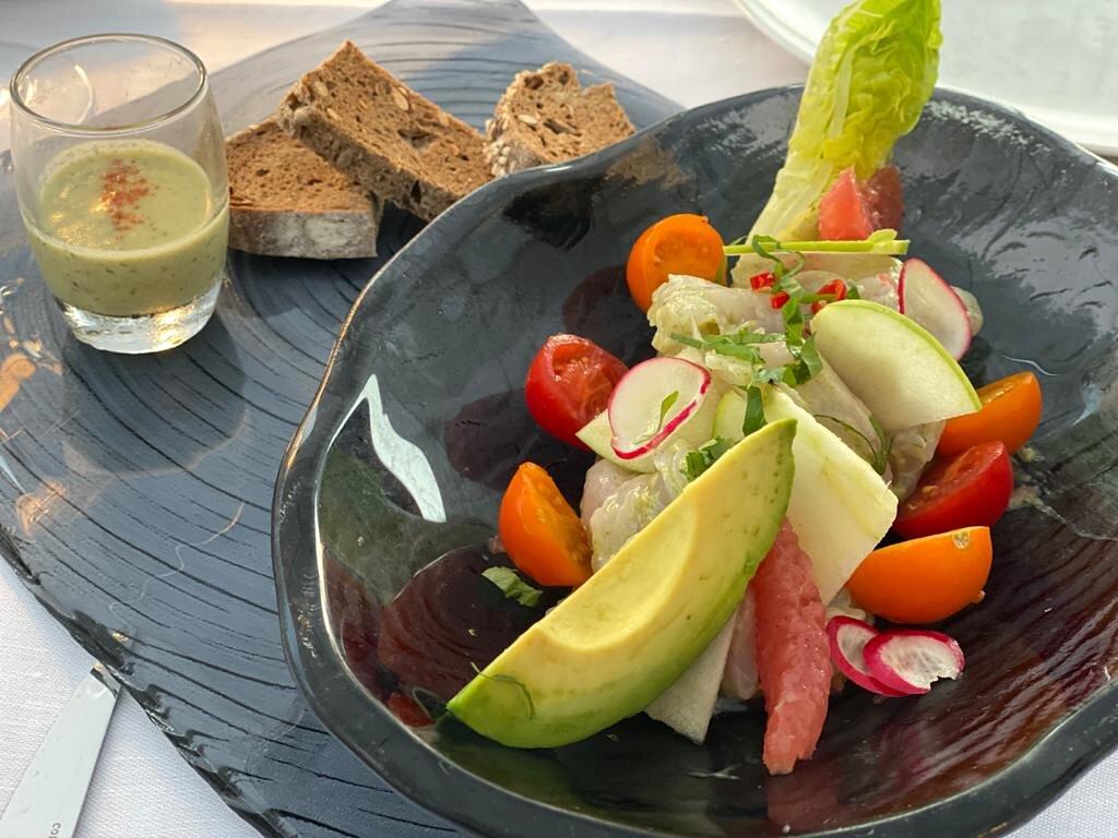 Fresh salad at the Carlton Beach Club in Cannes