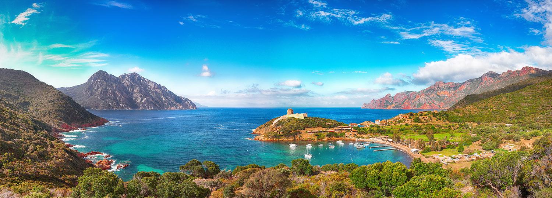 Panorama of the Gulf of Girolata, Corsica