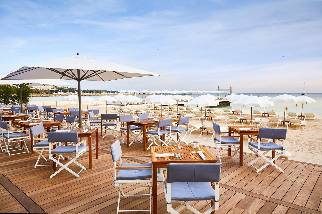 Private beach of the Martinez Hotel in Cannes