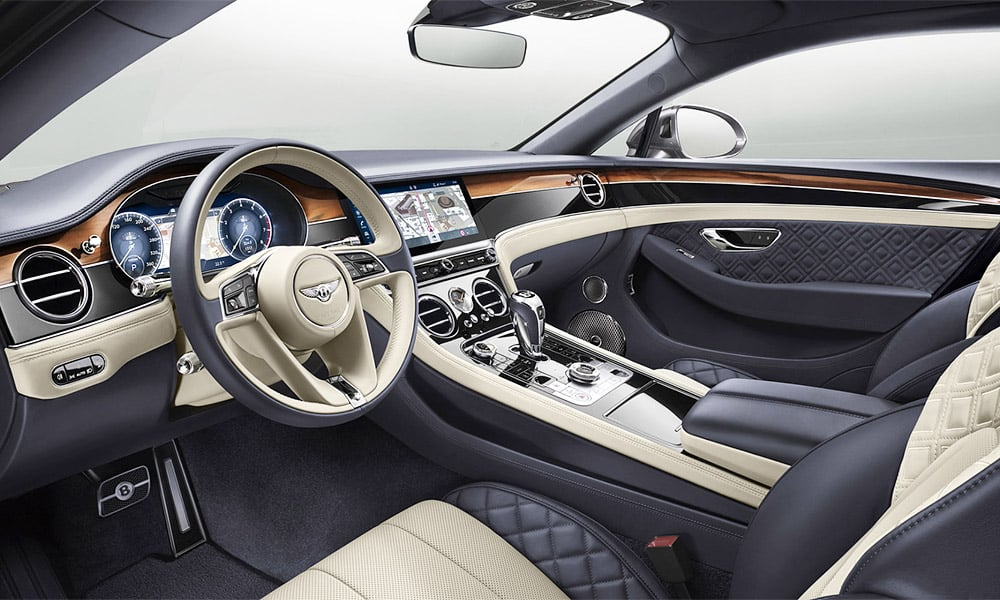 Exceptional interior of a Bentley Continental GT luxury car