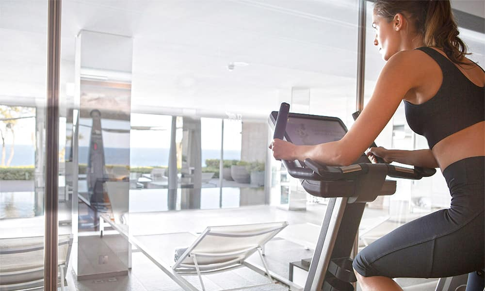 Fitness room with pool in a luxury hotel