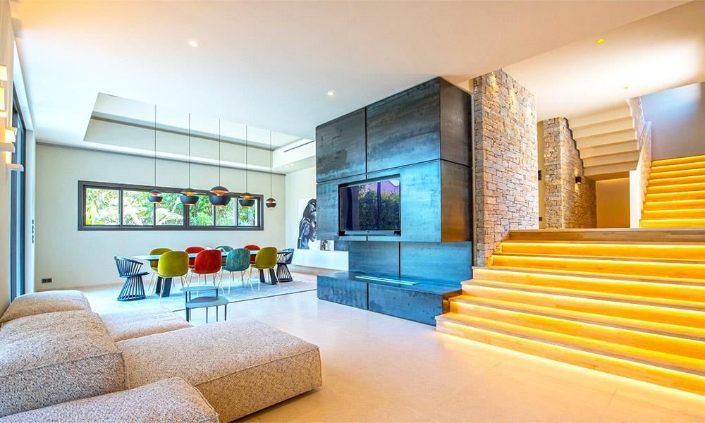 Interior of a luxury villa in Saint-Tropez