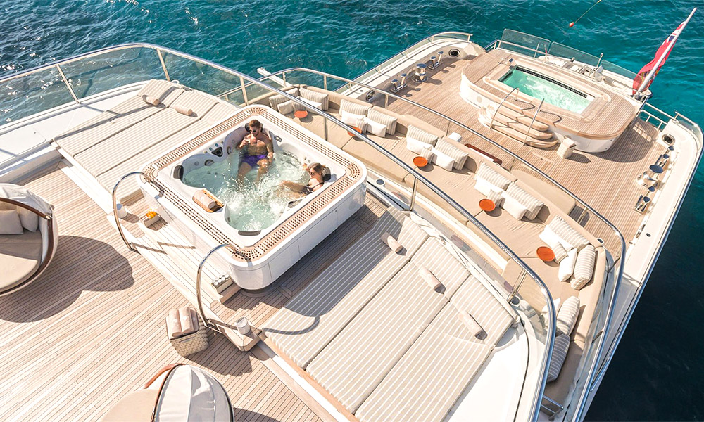 Luxury yacht with jacuzzi and swimming pool