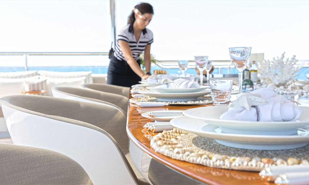 Luxury yacht with professional crew