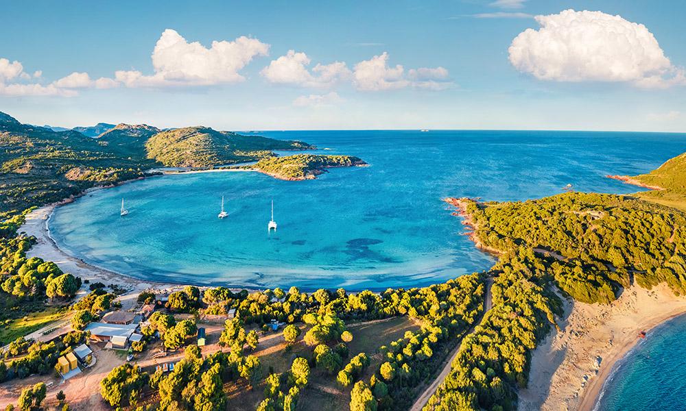 Landscape of Rondinara beach, Corsica, France