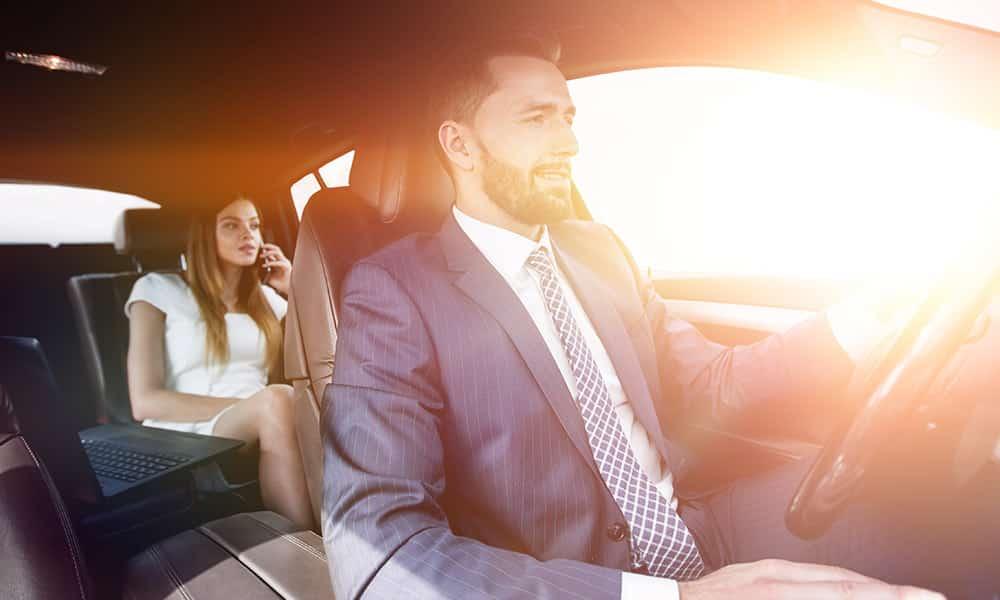 Private driver in a luxury car