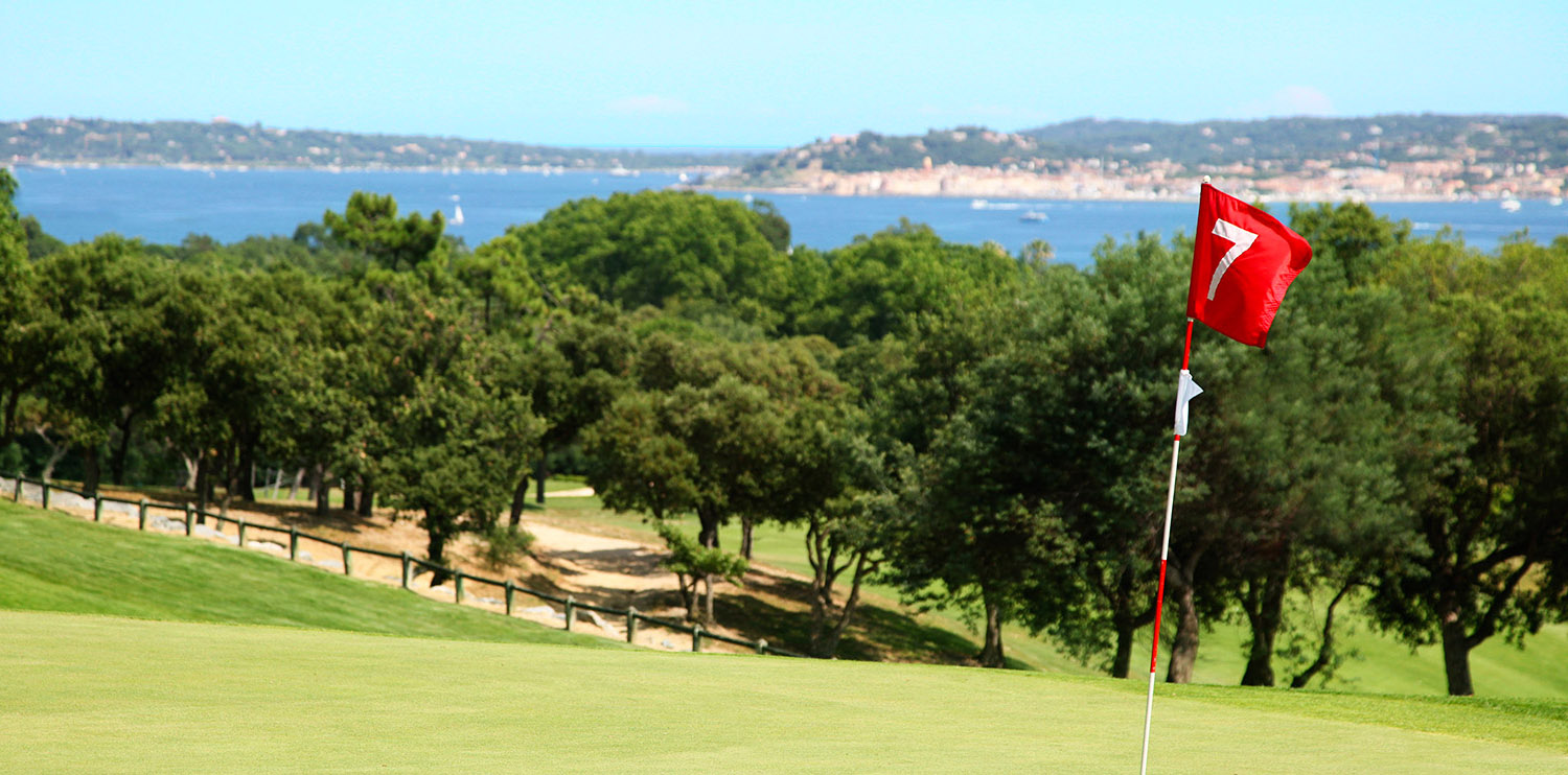 The golf course of Beauvallon and its view on the village of Saint-Tropez
