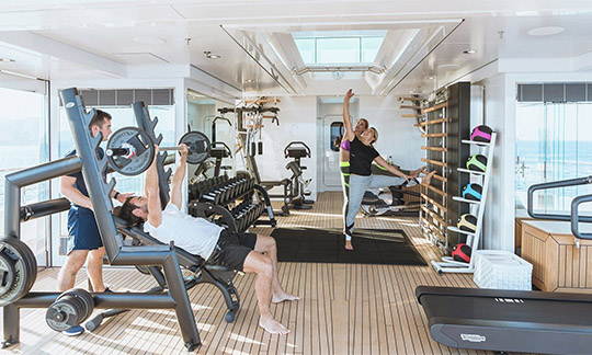 Yacht with fitness room
