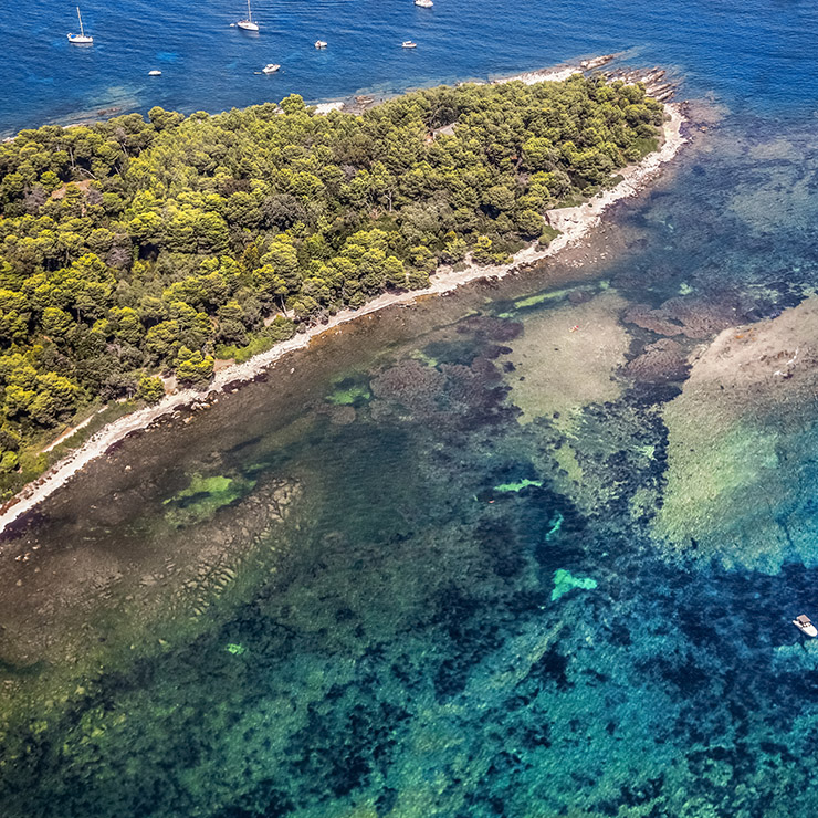 Aerial picture of the Lérins Island, French Riviera, South of France
