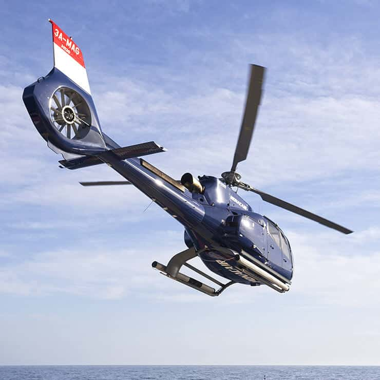 Helicopter flying over the French Riviera