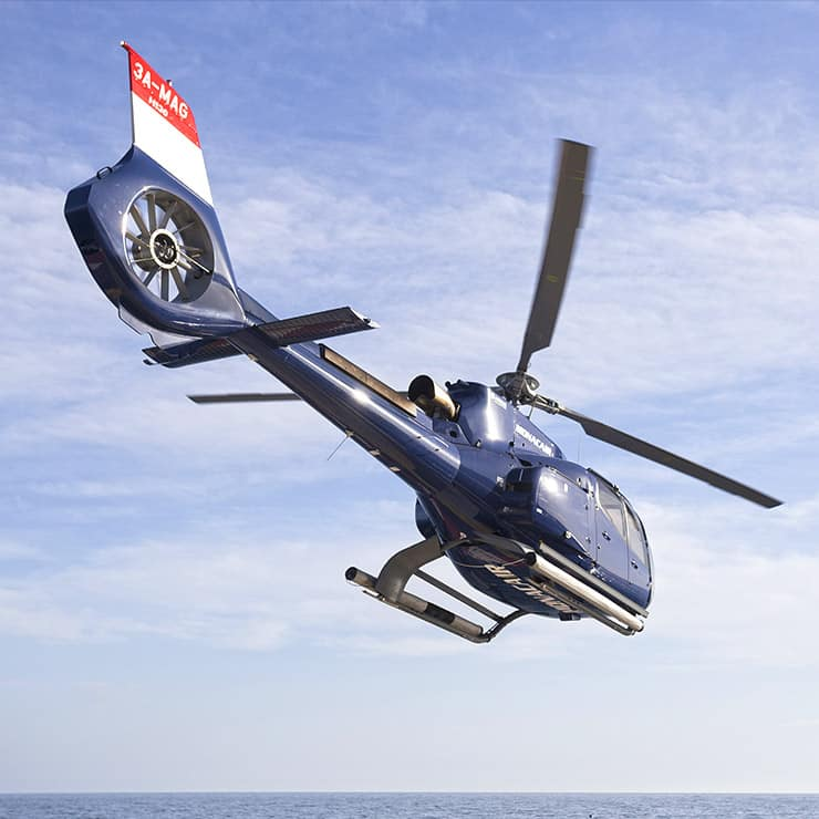 Helicopter flying over Monaco, French Riviera