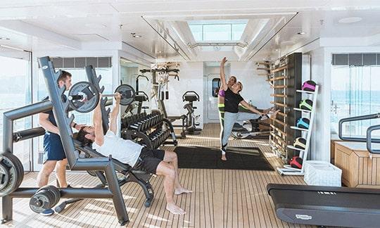 Gym on a luxury yacht
