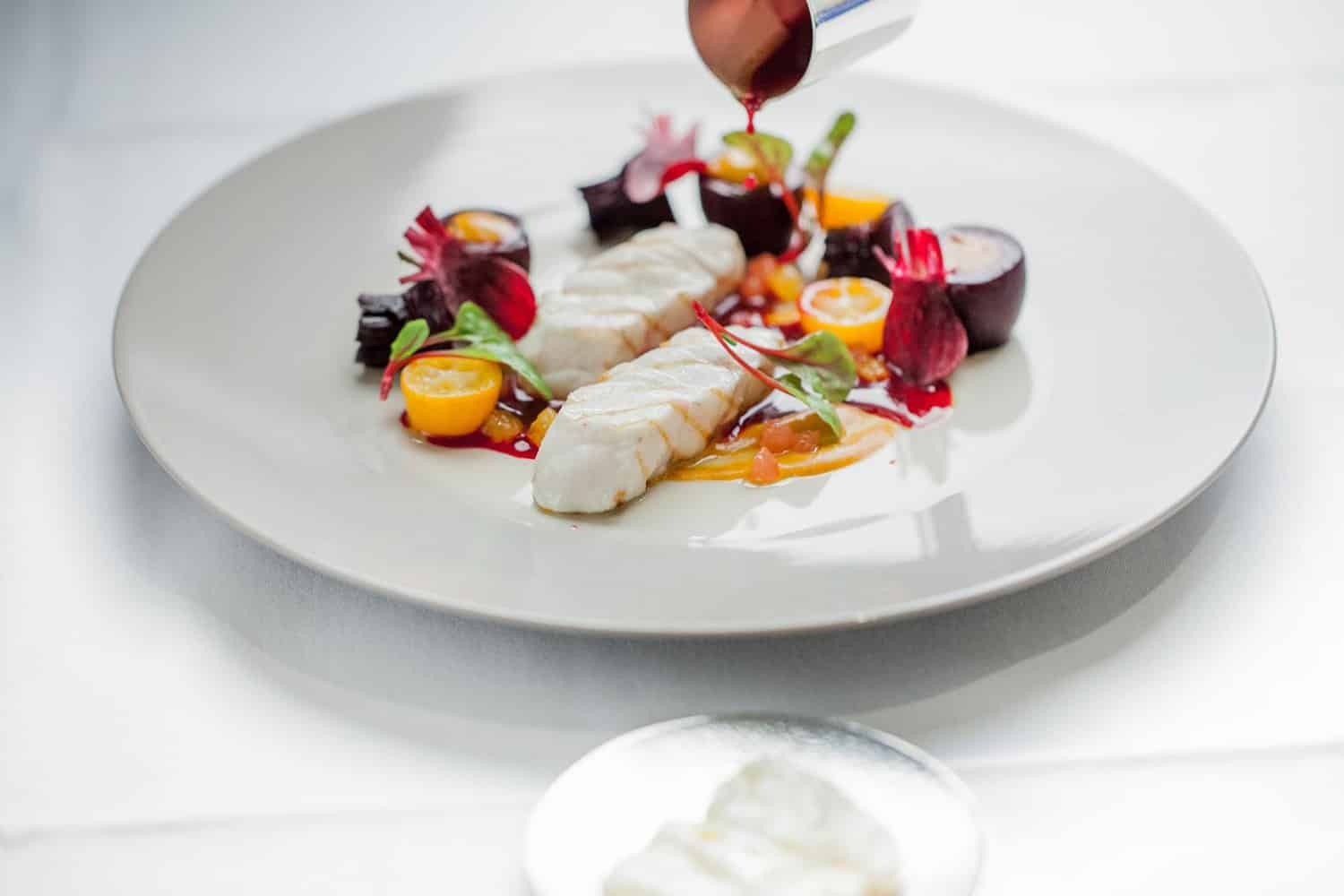 Course served by Chef Alain Ducasse at the restaurant Louis XV