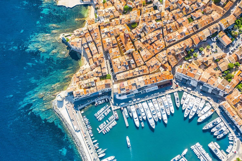 Vue aérienne du Port de Saint-Tropez
