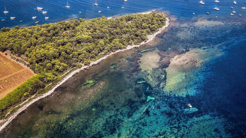 Magnifique vue sur les îles de Lérins et ses yachts