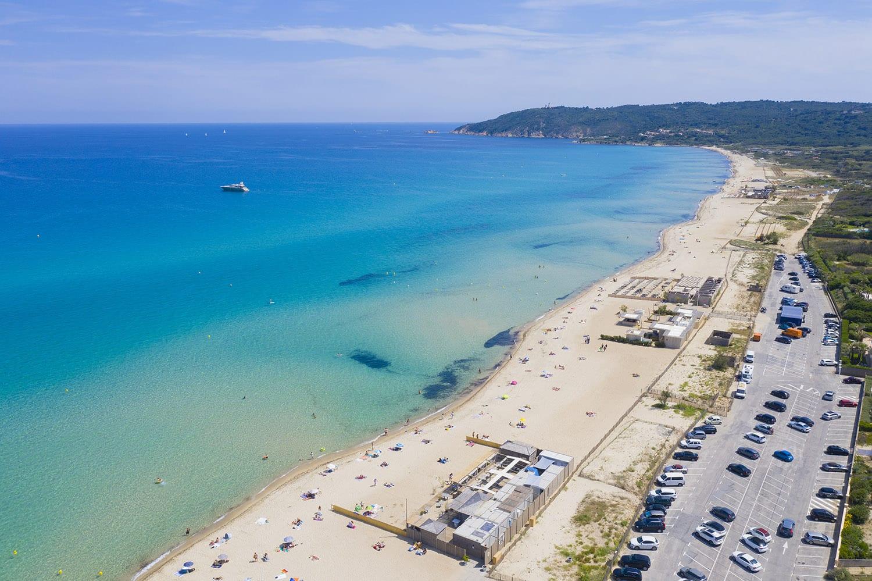 Ramatuelle - Saint Tropez, vue aerienne de la plage de Pampelonne