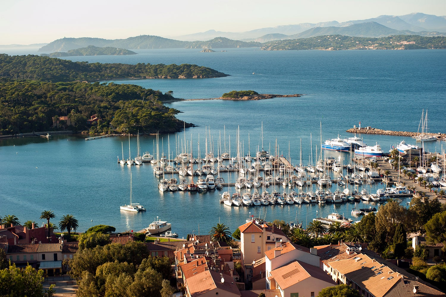 The port of Porquerolles and its Provencal village on the French Riviera
